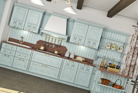 Потолок на кухне в стиле прованс